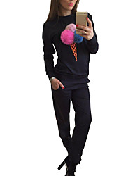 Women's Sports Active Fall Set Pant Suits,Print Round Neck Long Sleeve Blue / Black Polyester Medium