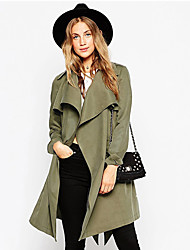 Women's Going out / Casual/Daily Simple Trench Coat,Solid Shirt Collar Long Sleeve Fall / Winter Green Polyester Medium