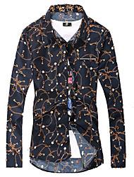 Brand Fashion Men's Casual/Daily Simple Spring / Fall ShirtFloral Shirt Collar Long Sleeve Black Cotton Medium Hot Sale