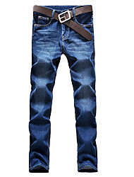 Brand Fashion Women's Solid Blue Straight Pants Simple Spring / Fall Hot Sale Slim Jeans Plus Size