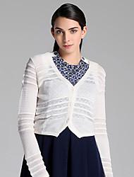 Mujer Regular Cardigan Casual/Diario Simple,Un Color Blanco Escote en Pico Manga Larga Lana / Acrílico Otoño Fino Microelástico
