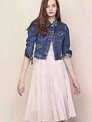 Feminino Jaquetas Jeans Happy-Hour Vintage Outono,Bordado Azul Poliéster Colarinho de Camisa-Manga Longa Média