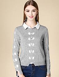 Damen Kurz Pullover-Lässig/Alltäglich Einfach Solide Grau Rundhalsausschnitt Langarm Baumwolle Winter Mittel Mikro-elastisch