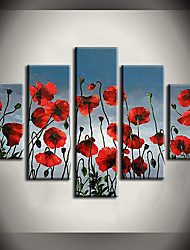 Hand-Painted Landscape / Floral/Botanical 100% Hang-Painted Oil Painting,Modern / Pastoral Five Panels Canvas Oil Painting For Home