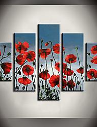 Pintados à mão Paisagem / Floral/Botânico Pinturas a óleo,Modern / Pastoril 5 Painéis Tela Hang-painted pintura a óleo For Decoração para