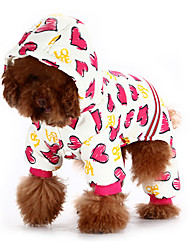 Dog Hoodie / Clothes/Jumpsuit Pink Dog Clothes Winter / Spring/Fall Hearts Cute / Casual/Daily / Keep Warm