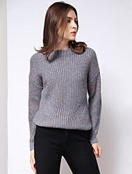 Damen Standard Pullover-Ausgehen Einfach Solide Beige / Grau Rundhalsausschnitt Langarm Acryl / Polyester Winter Mittel Mikro-elastisch