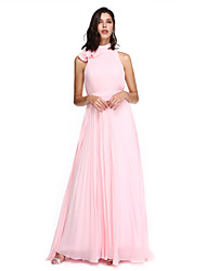 TS Couture Homecoming Formal Evening Holiday Dress - Elegant A-line High Neck Sweep / Brush Train Chiffon with Bow(s) Sash / Ribbon Pleats