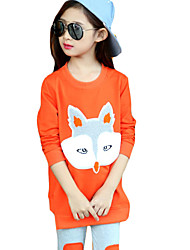 Girl's Casual/Daily Animal Print Clothing Set,Cotton Spring / Fall Orange / Pink