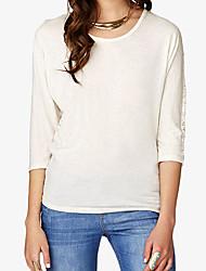 Damen Solide Einfach Lässig/Alltäglich T-shirt,Rundhalsausschnitt Herbst / Winter ¾-Arm Weiß Baumwolle Mittel