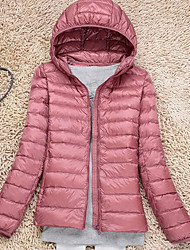 Women's Regular Down Coat,Street chic Casual/Daily Solid-Nylon White Duck Down Short Sleeves Hooded