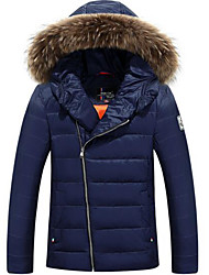 Men's Regular Down Coat,Simple Casual/Daily Solid-Polyester White Duck Down Long Sleeve Hooded Blue / Gray / Orange