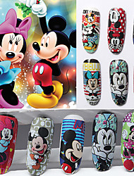 12pcs Cartoon Water Transfer Nail Stick Mickey Series