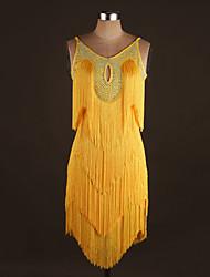 Devemos nós dança latin desempenho spandex beading / tassel (s) 1 peça vestido sem mangas natural