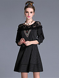 Plus Size Women Vintage Sexy Lace Patchwork Stripe Bead Slim Waist 1/2 Sleeve Party Daily Dress