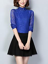 Damen Solide Einfach Lässig/Alltäglich T-shirt,Ständer Herbst Langarm Blau / Schwarz Nylon Mittel