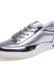 Men's Sneakers Spring / Fall Comfort Glitter Casual Flat Heel Lace-up Black / Silver / Gold Walking
