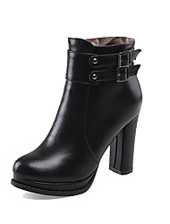 Women's High-Heels Solid Closed Round Toe Soft Leather Zipper Boots