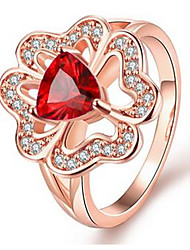 18K Gold Rings For Women Engagement Fashion Jewelry Wedding Flowers Red Zircon Ring