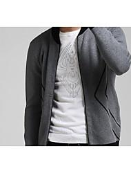Men's Casual/Daily Simple Regular Cardigan,Solid Stand Long Sleeve Cotton Winter Medium Micro-elastic