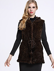 BF-Fur Style Women's Casual/Daily Sophisticated Fur CoatSolid Hooded Sleeveless Winter Black / Brown Others