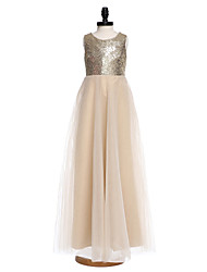 A-line Floor-length Flower Girl Dress - Organza Sequined Jewel with Flower(s) Pearl Detailing