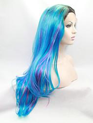 Mulher Azul Ondulado Natural Cabelo Sintético Frente de Malha Peruca Natural