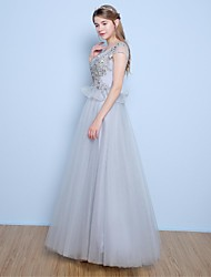 Formal Evening Dress A-line Scoop Floor-length Satin / Tulle with Appliques / Beading / Pearl Detailing / Sequins