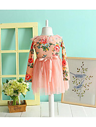 Girl's Casual/Daily Floral DressCotton Fall Pink