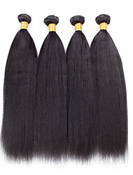 4 Pieces Yaki Straight Human Hair Weaves Brazilian Texture Natural Color 8inch to 30inch Human Hair Extensions