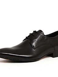 Men's Oxfords Leather Spring Fall Wedding Office & Career Low Heel Black coffee Under 1in
