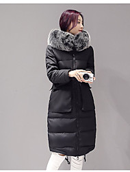 Women's Long Down Coat,Simple Casual/Daily Solid-Cotton Polypropylene Long Sleeve Hooded Pink / Black / Gray
