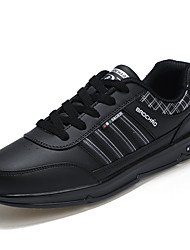 Men's Athletic Shoes Spring / Fall Comfort PU Casual Flat Heel Lace-up Black / Brown / Khaki Sneaker