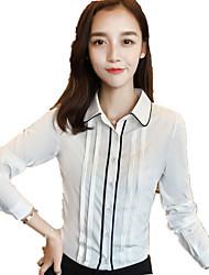 Women's Plus Size / Work Color Block Long Sleeve White OL Chiffon Shirt