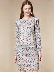 DOF Women's Casual/Daily Simple Fall Set SkirtPrint Round Neck Long Sleeve Gray Cotton Medium