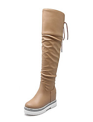 Women's Round Closed Toe High Heels High Top Solid Boots