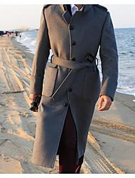 Masculino Casaco Trench Casual Simples Outono / Inverno,Sólido Preto / Cinza Lã Colarinho de Camisa-Manga Longa