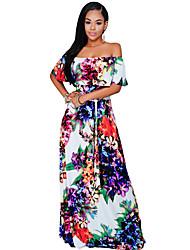 Women's Multi-color Floral Print Off-the-shoulder Maxi Dress