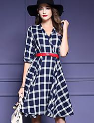 Gaine Robe Femme Décontracté / Quotidien simple,Imprimé Col en V Au dessus du genou ½ Manches Bleu / Rouge Polyester Automne / Hiver