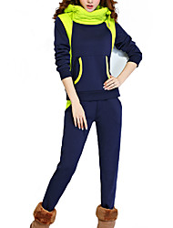 Women's Casual/Daily / Plus Size Simple Fall / Winter Set Pant Suits,Color Block Hooded Long Sleeve Blue / Black Cotton / Rayon Thick