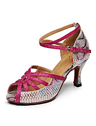 Customizable Women's Dance Shoes Leather Leather Latin Sandals Chunky Heel Practice / Beginner / Professional / Indoor / Performance Pink