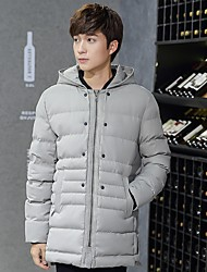 Men's Long Padded CoatCotton Solid Long Sleeve