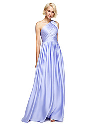 2017 Lanting Bride® Floor-length Satin Chiffon Elegant Bridesmaid Dress - A-line One Shoulder with Side Draping