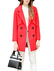 Women's Casual/Daily Simple Coat,Solid Shawl Lapel Long Sleeve Fall / Winter Red / Gray Polyester Thick