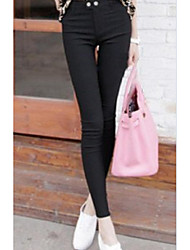 Sign autumn big yards high elastic outer wear leggings pants feet influx of women casual fashion pants button