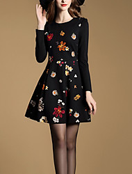 Women's Casual/Daily Simple Sheath DressFloral Round  Black Polyester Fall / Winter Mid Rise Micro-elastic