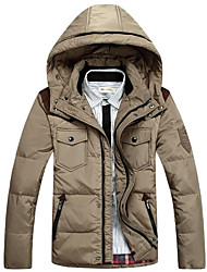 Men's Regular Padded Coat,Simple Casual/Daily Solid-Polyester White Goose Down Long Sleeve Stand Beige