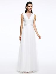 Lanting Bride® A-Linie Hochzeitskleid Boden-Länge Bateau - Linie Spitze / Tüll mit Knopf / Schärpe / Band