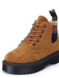 Women's Boots Casual Shoes Comfort Synthetic Casual Flat Heel Lace-up Black / Green / Khaki