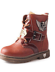 Girl's Boots Winter Comfort PU Outdoor / Casual Flat Heel Beading / Lace-up Black / Brown / Coffee Walking
